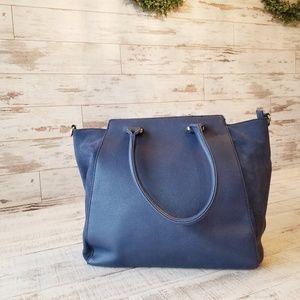 Sole Society Blue Tote Purse Bag Zipper Top